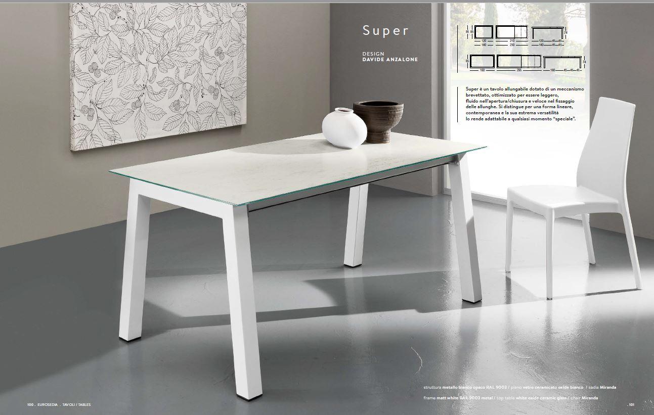 Tavolo 85x160 All 295 Eurosedia Super Bianco Oxide Bianco Arredishop It Arredamento Complementi Oggettistica